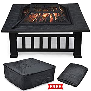 "Outdoor Fire Pit Fireplace Brazier Stove Garden Patio Square 32"" Metal BBQ & Heater"