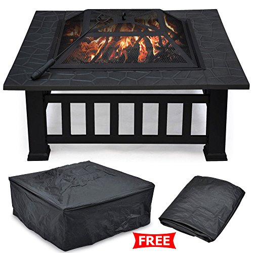 """Outdoor Fire Pit Fireplace Brazier Stove Garden Patio Square 32"""" Metal BBQ & Heater"""