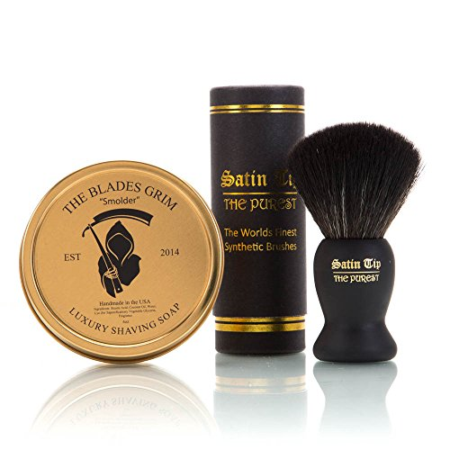 The Blades Grim & Satin Tip – Black Synthetic Shave Brush & Smolder Soap Kit