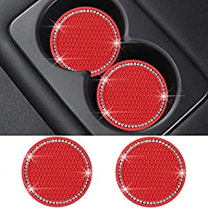 SUNCARACCL Bling Car Coasters PVC Travel Auto Cup Holder Insert Coaster Anti Slip Crystal Vehicle Interior Accessories…