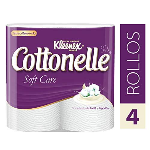 Kleenex Cottonelle Soft, Papel Higiénico, color Blanco, 4 Rollos