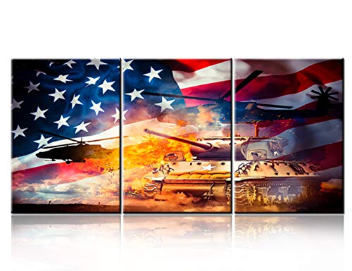 American Flag Paintings Decor Stripes and Stars Pictures for Living Room Patriotism Artwork 3 Piece Canvas Wall Art Modern Home Decorations Wooden Framed Ready to Hang Posters and Prints(42''Wx20''H) ()