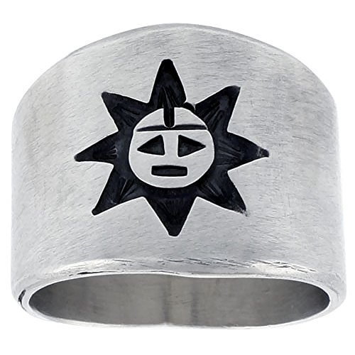 Sterling Silver Native American Design Sun Ring, size (Indian Ring Designs)