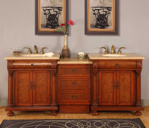 82.5'' Bathroom Furniture LED Lighted Travertine Top Double Sink Vanity Cabinet 723TL by Silkroad Exclusive