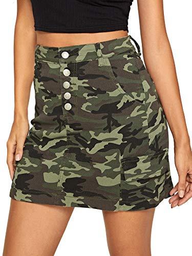 WDIRARA Women's Summer A Line Mid Waist Camo Print Mini Denim Skirt Green S