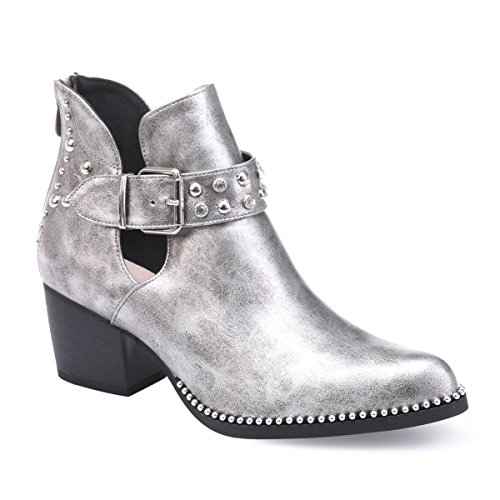 La Modeuse Low Boots en Simili Cuir à Talon carré Argenté atM8dlg0L