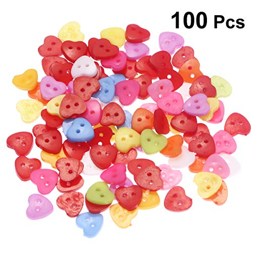 Tinksky 100pcs Heart Shaped Multicolor 2 Holes Resin Sewing Buttons for Sewing Scrapbooking Knitting ()