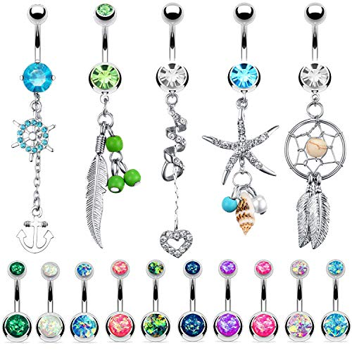 BodyJ4You 15 Belly Button Rings Dangle Barbells 14G Steel Created-Opal Navel Body Jewelry