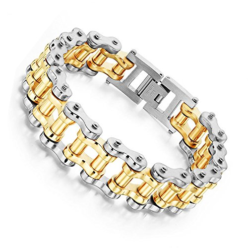 Bicycle Bracelet Bike Titanium Chain Men's Jewelry Heavy Silver Gold Stainless Steel Motorcycle Biker Link 9.5'' (silver & gold)