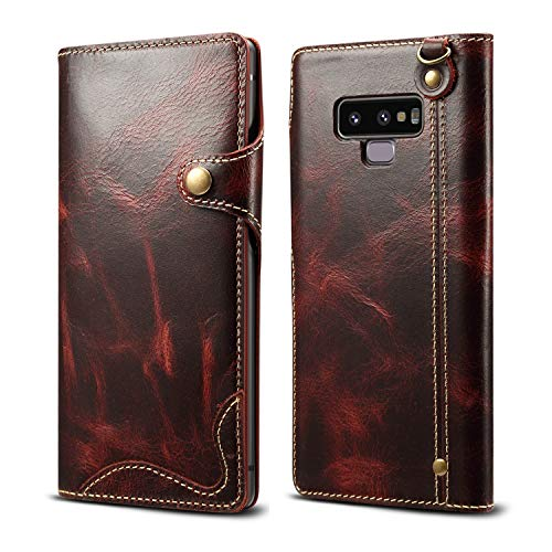 Galaxy Note 9 Case,Bpowe Ultra Slim Genuine Leather Case with Card Holder Strap Attachment Magnet snap Type Full Surface Protection Shockproof Cover Case for Samsung Galaxy Note 9 (Wine red)