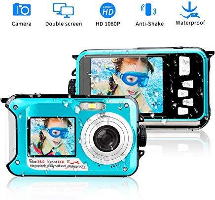 Underwater Camera 24.0MP Waterproof Digital Camera Full HD 1080p Selfie Dual Screen Video Recorder...
