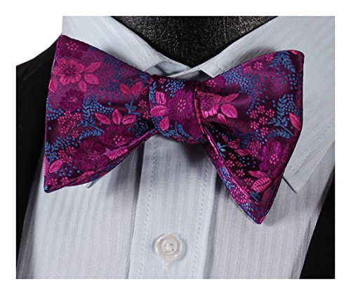 HISDERN Men's Self Tie Bow Tie Classic Floral Paisley Woven Silk Bowtie for Tuxedo & Wedding