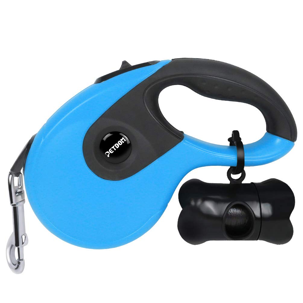 PETDOM Retractable Dog Leash - Heavy Duty Pet Leash for Medium Large Dogs Up to 110 lbs - 16 ft Nylon Reflective Tape, Tangle Free, One-Handed Brake, Pause, Lock - Large (Blue)