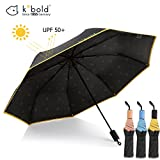 Kobold Ballet Parasol Umbrella With 3 Fold Windproof Waterproof Anti-UV Lightweight Umbrellas For Unisex, New and Unique Travel Compact (Classic Black)