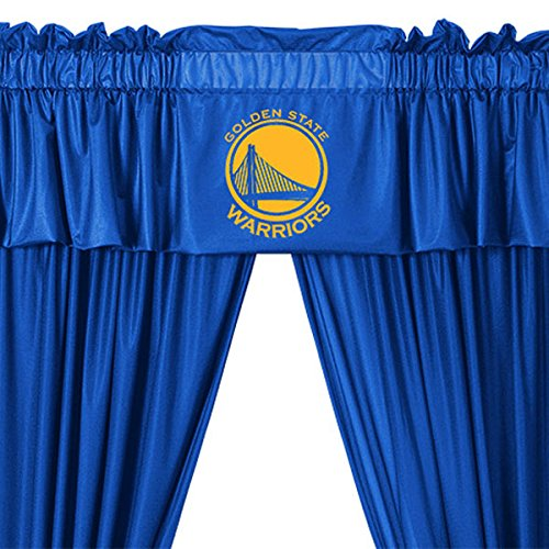 5pc NBA Golden State Warriors Drape and Valance Set Basketball Team Logo Window Treatment