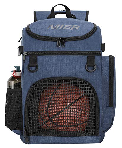 MIER Basketball Backpack Large Sports Bag for Men Women with Laptop Compartment, Best for Soccer, Volleyball, Swim, Gym, Travel, 40L, Blue
