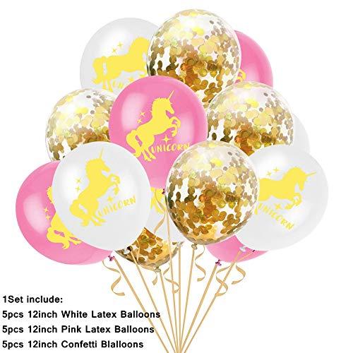 RUNFURU 15PCS Balloons Confetti Air Ballons Wedding Ballons Kids Birthday Party Decorations Baby Shower Supplies Mix Confetti Unicorn -