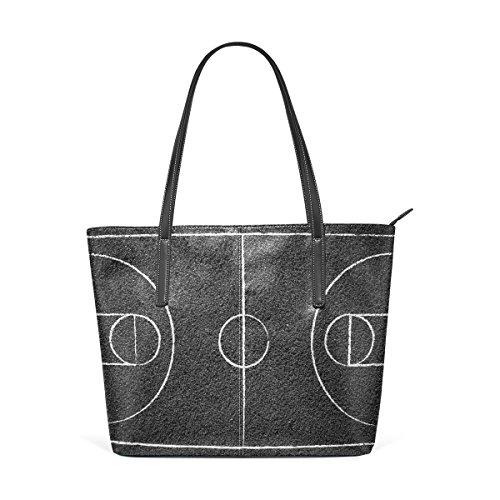 COOSUN Street Basketball Court PU Leder Schultertasche Handtasche und Handtaschen Tasche für Frauen
