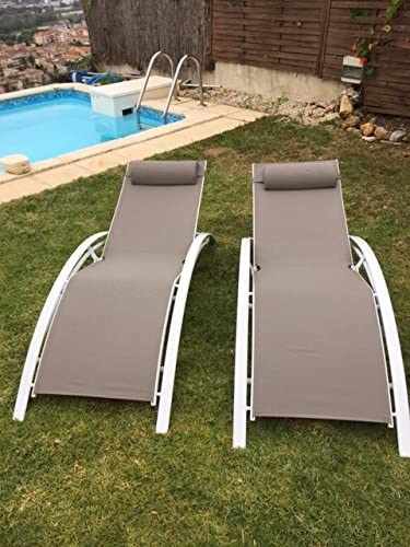 Taupe KD,Very Light, 2 Pack Kozyard KozyLounge Elegant Patio Reclining Adjustable Chaise Lounge Aluminum and Textilene Sunbathing Chair for All Weather with headrest