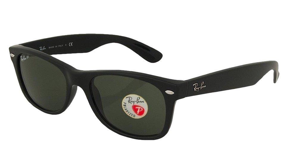 Ray-Ban RB2132 New Wayfarer Sunglasses Unisex 100% Authentic (Matte Black Frame Polarized Solid Lens, 52)