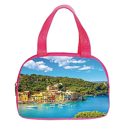 Polychromatic Optional Small Handbag Pink,Italy,Portofino Landmark Aerial Panoramic View Village and Yacht Little Bay Harbor Decorative,Blue Green Yellow,for Girls,Print Design.6.3
