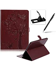 Flip Case for New iPad 9.7 2017,Smart Leather Cover for New iPad 9.7 2017,Herzzer Retro Pretty Tree Butterfly Cat Design Wallet Folio Case Full Body PU Leather Protective Stand Cover with Inner Soft Silicone Shell for New iPad 9.7 2017 + 1 x Free Black Cellphone Kickstand + 1 x Free Black Stylus Pen