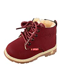 Toddler Single Short Boots Fashion Boys Girls British Martin Boots Lace Up Winter Boots Shoes Size 5.5 M Wine Red