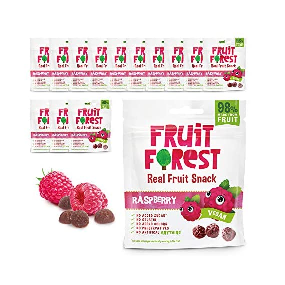 Fruit Forest Real Fruit Gummy Party Pack of 14 Raspberry | 100% Naturally Sweet Snack | No Added Sugar | for Kids