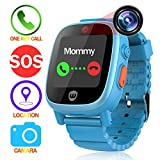 feieldi Trade Kids Watches GPS Tracker SOS Call Anti-lost Finder Camera Take-off Alarm Pedometer Kids Smartwatch for Boys Girls (Blue)