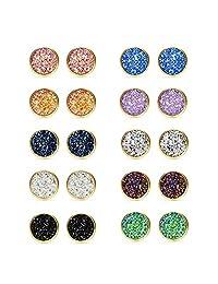 Blinst 10 Pairs Druzy Stud Earrings Set for Girls Women Hypoallergenic Round Earrings Pierced