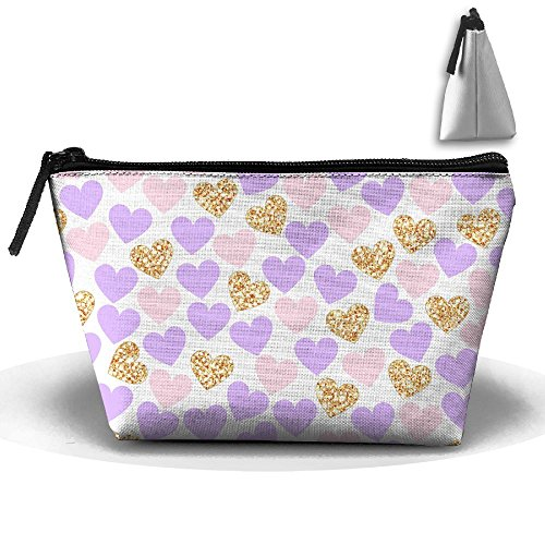 Trapezoidal Cosmetic Bags Makeup Toiletry Pouch Purple Gold Heart Travel Bag Phone Purse Pencil Holder by Tydo