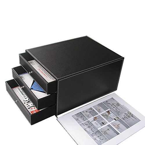 KINGFOM 3-Drawer 3-Layer Wood Structure Leather Desk Filing Cabinet File/Document Holder Organizer Storage Box (style B black)