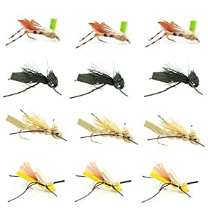 Trout Fly Fishing Assortment - Foam Body Grasshopper Dry Fly Collection - 1 Dozen Flies - Hook Size 10 - Fly Fishing Hoppers and Cricket Flies