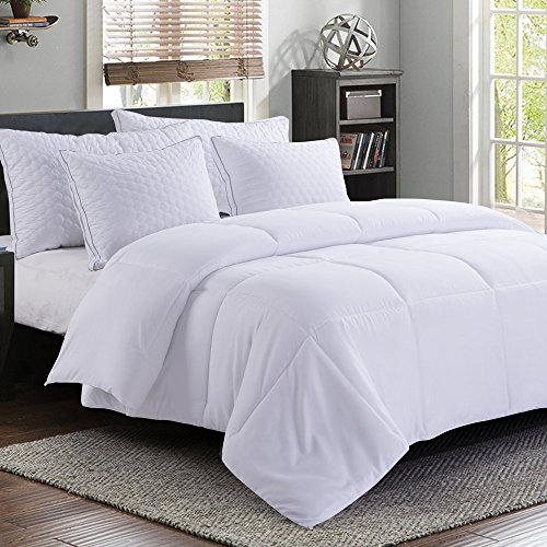 Comforters Fiberfill (MANZOO King Comforter Duvet Insert White - Quilted Comforter with Corner Tabs - Hypoallergenic, Plush Siliconized Fiberfill, Box Stitched Down Alternative Comforter - Machine Washable - 90