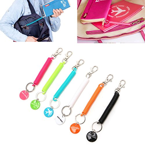 Doiber 1pc Anti-lost Strap For Key Chain Phone Passport Pouch Wallet Purse Travel Accessory (Black)