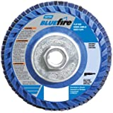 "Norton BlueFire R884P Type 27 Flat Flap Abrasive Disc, 5/8""-11 Arbor, Zirconia Alumina Plus, 4-1/2"" Diameter, 36 Grit (Pack of 2)"
