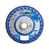 Norton BlueFire R884P Type 27 Flat Flap Abrasive Disc, 5/8''-11 Arbor, Zirconia Alumina Plus, 4-1/2'' Diameter, 36 Grit (Pack of 2)
