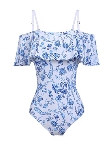 Ekouaer Women's One Piece Bather Swimsuit High Waisted Pin Up Swimwear (Blue, - Bathers Womens