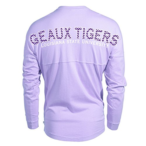 Official NCAA Louisiana State University Tigers LSU GEAUX Tiger Mike Fashion Football Long Sleeve Spirit Wear Jersey T-Shirt