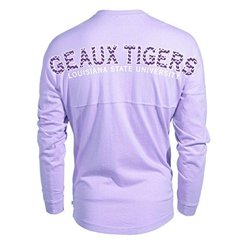 Official NCAA Louisiana State University Tigers LSU GEAUX Tiger Mike Fashion Football Long Sleeve Spirit Wear Jersey T-Shirt