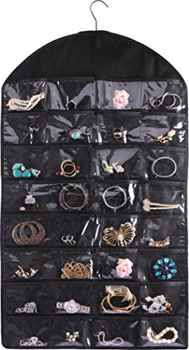 Utopia Home Hanging Jewellery Organizer with Dual Side - 32 Pockets and 18 Velcro Strap Loops - by