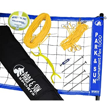 Park & Sun Sports Portable Outdoor Volleyball Net System: Tournament Flex 1000, Blue