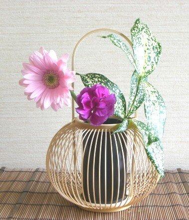 伝統的工芸品 駿河竹千筋細工 花器 椿 画像