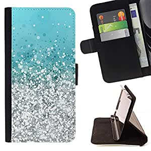 For Sony Xperia M2 Silver Aquamarine Vibrant Bling Beautiful Print Wallet Leather Case Cover With Credit Card Slots And Stand Function