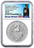2018 GB Silver Queen's Beasts - Unicorn of Scotland £ Coin 5 Pound MS69 NGC