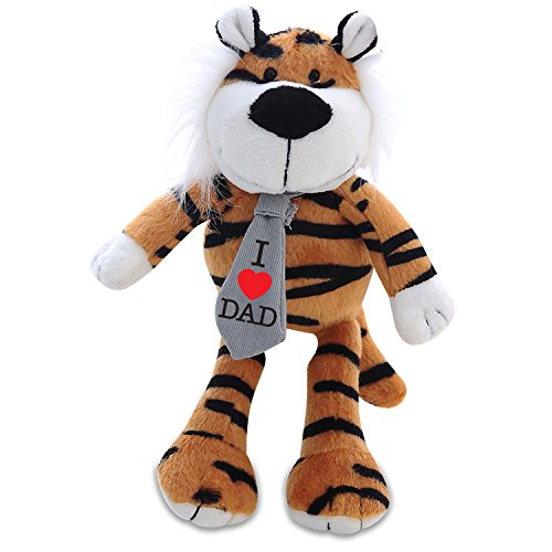 (Plushland Adorably Plush Stuffed Animal Toy – Wearing Tie With Message On I Love DAD, Plush Animal Figure Toys For kids and Superb Gift for on Father's Day (I Love Dad Tiger))