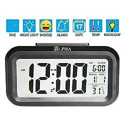 4.6 Battery Digital Smart Backlight Alarm Clock Snooze, Optional Weekday Alarm, Date, Temperature with Sensor Light (Black)