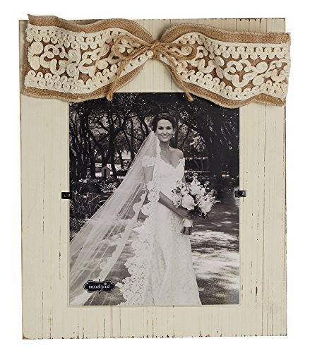 Mud Pie Vertical Planked Frame with Crochet Burlap Bow, 8 x