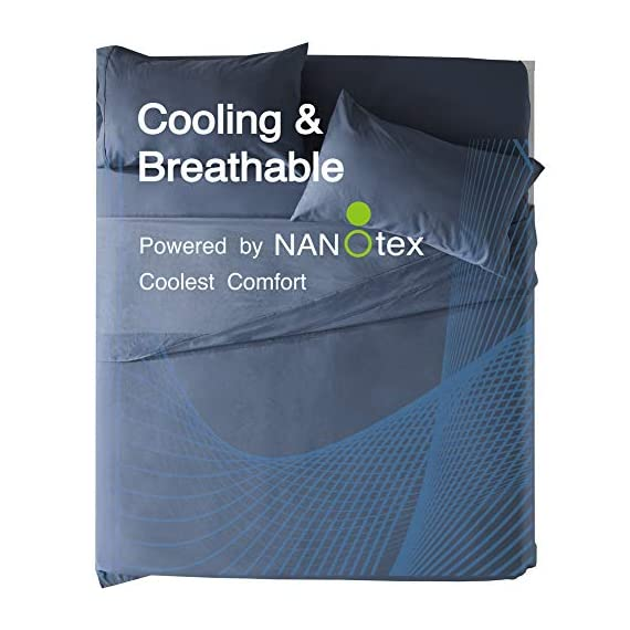 SLEEP ZONE Bed Sheet Sets Cozy Brushed Microfiber Soft Wrinkle Free Fade Resistant with 16 inch Deep Pocket Easy Care Sheets 4 PC, Flint Blue,Full - COOLING & BREATHABLE: The sheet sets designed with new NANOTEX Coolest Comfort Technology. Fabrics treated with advanced moisture wicking system dries 100% faster than cotton, actually balance your body temperature, pulling moisture away from your skin out to the fabric's surface, moisture can more easily evaporate and leaving you a cooler, drier and more comfortable sleeping surface, and leaving you feeling refreshed and rejuvenated. It will keep you cool in the summer and warm in the winter. SOFT & COMFORTABLE: Our coolest comfort Technology offers unbelievably soft fabrics than others, enhanced breathability and advanced temperature regulation to keep you from waking up hot, sweaty and uncomfortable. It's made of premium microfiber yarns and double brushed on both sides for ultimate softness and comfort. Also with the Nanotex cooling technology it gives superior comfort against your skin without extra heat and sweat. DEEP POCKET & PRECISION FIT: Deep pocket fits mattresses up to 16 inch deep, perfect for oversized mattresses. Full size include 4 piece bed sheet sets: 1 Flat Sheet 96x81 inch, 1 Fitted Sheet 75x54 inch, 2 Pillow Case 20x30 inch. Blend of technique and elegance, our linens are designed to offer you a unique and sophisticated sleeping experience. Hypoallergenic: suitable for all skin types. Shrink and wrinkle resistant. Machine wash cold, do not use bleach, tumble dry low. - sheet-sets, bedroom-sheets-comforters, bedroom - 51EZ0BVV0aL. SS570  -