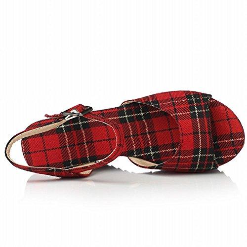Carolbar Mujeres Hebilla Peep Toe Plaids Fiesta Party Plataforma Sandalias Cuñas Rojo